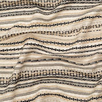 Beige, Black and White Striped Cotton Tweed