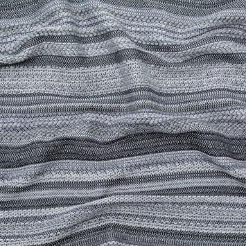Tactile Gray Striped Wool Tweed