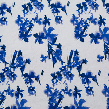 Optic White and China Blue Floral Jacquard