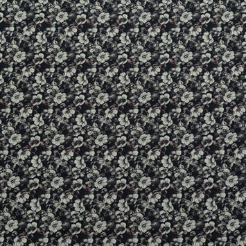 Italian Black, Beige and Brown Floral Stretch Jacquard
