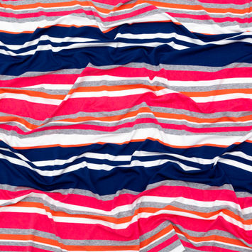 Coral, Navy and Optic White Barcode Striped Rayon Jersey