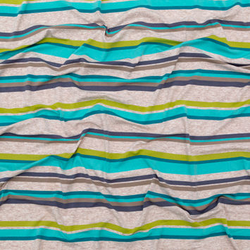 Turquoise, Lime and Taupe Barcode Striped Rayon Jersey