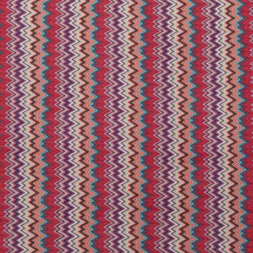 Magenta and Oceanic Blue Zig Zag Crocheted Sweater Knit