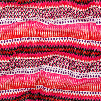 Red and Pink Geometric Striped Crocheted Sweater Knit