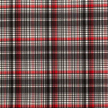 Red, Black and White Plaid Printed Polyester Spandex