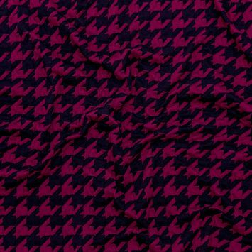 Pink and Navy Houndstooth Knit Jacquard