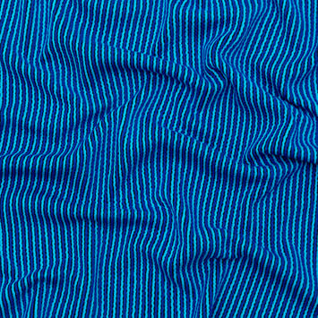 Navy and Turquoise Striped Tactile Stretch Knit