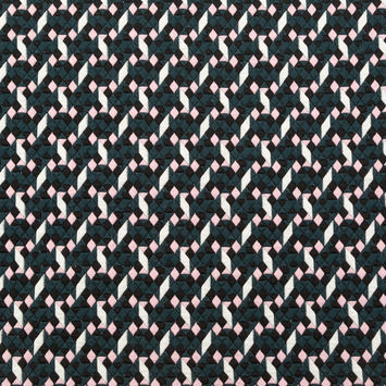 Teal and Pale Pink Geometric Stretch Quilted Knit