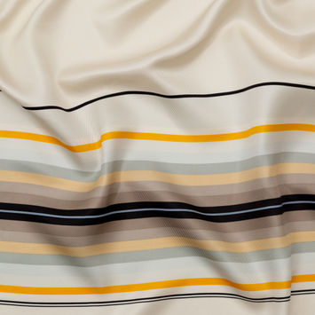 Rag & Bone Yellow, Beige and Gray Striped Silk Twill