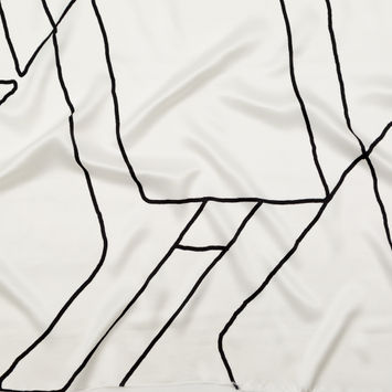 Rag & Bone White and Black Abstract Printed Silk Charmeuse