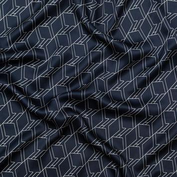 Rag & Bone Navy and White Geometric Silk Charmeuse