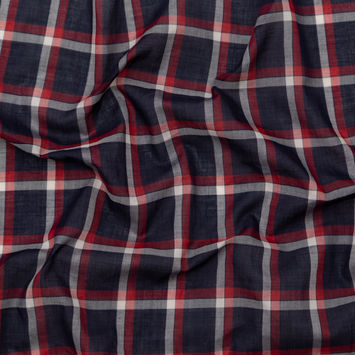 Rag & Bone Red, White and Blue Plaid Cotton Voile