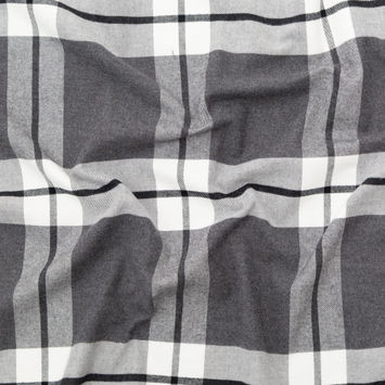 Rag & Bone Gray and White Plaid Cotton Flannel