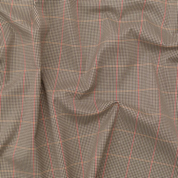 Rag & Bone Beige, Black and Red Tattersall Windowpane Check Stretch Cotton Twill