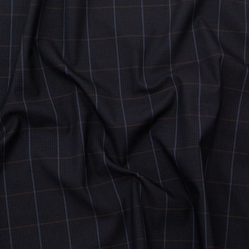 Rag & Bone Navy and Brown Tattersall Windowpane Check Stretch Cotton Twill