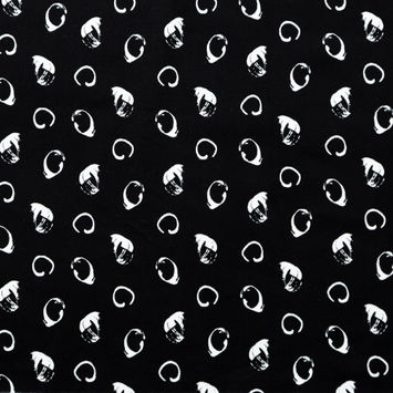 Italian Black and White Printed Stretch Brushed Cotton Twill
