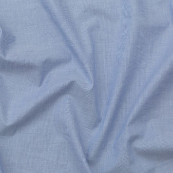 Italian Light Blue and White Striped Stretch Cotton Chambray