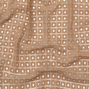 Italian Beige Geometric Cotton Gupiure Lace