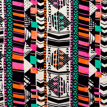 Black, Orange and Pink Geometric Printed Rayon Jersey