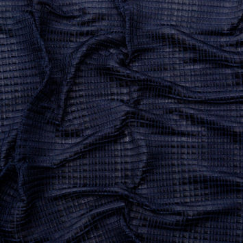 Navy Stretch Polyester Pleated Knit