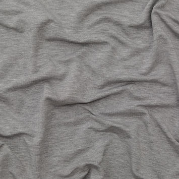 Italian Heathered Gray Brushed Back Viscose Jersey