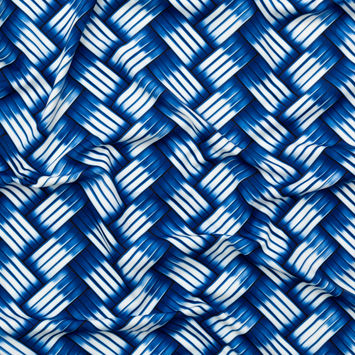 Sargasso Sea and True Blue Metal Basket Weave UV Protective Compression Tricot with Aloe Vera Microcapsules