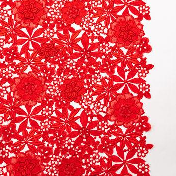 Oscar de la Renta Red 3D Floral Lace with Finished Edges