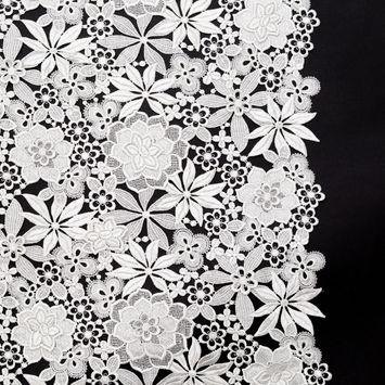 Oscar de la Renta Bright White 3D Floral Lace with Finished Edges