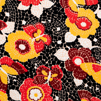 Red and Yellow Mosaic Butterfly and Floral Stretch Polyester Jersey