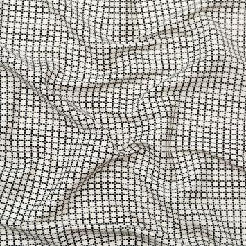 Ivory and Black Geometric Fleur de Lis Stretch Woven