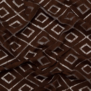 Brown Geometric Lasercut Cotton Poplin with Abstract Stitched Tulle Overlay