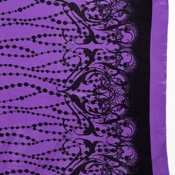 Purple Border Printed Stretch Plisse