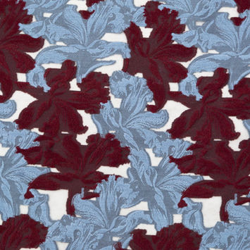 Italian Burgundy and Light Blue Floral Embroidered Wool Burnout