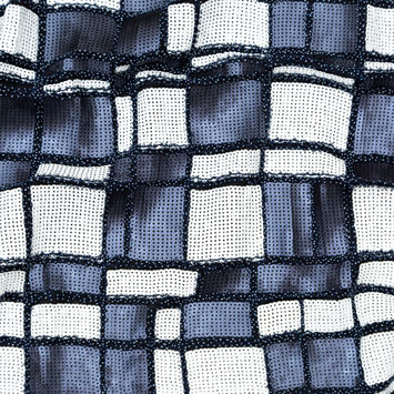 c9b5bd5660d Italian Navy and White Beaded and Sequined Squares over Jersey Fashion  Fabric