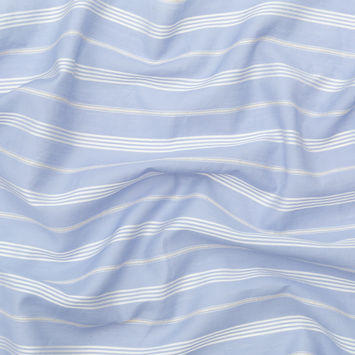 Italian Powder Blue and White Striped Silk and Cotton Voile