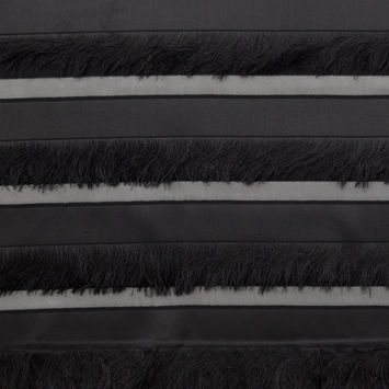 Italian Black Novelty Striped Fringe Woven