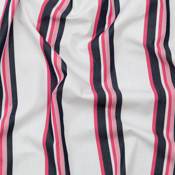 Italian Optic White and Lotus Striped Cotton Shirting