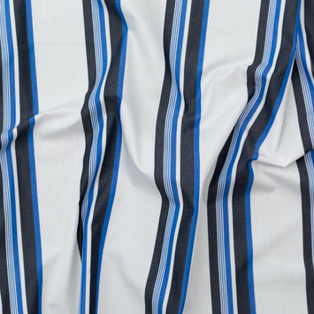 Italian Optic White and Ultramarine Striped Cotton Shirting
