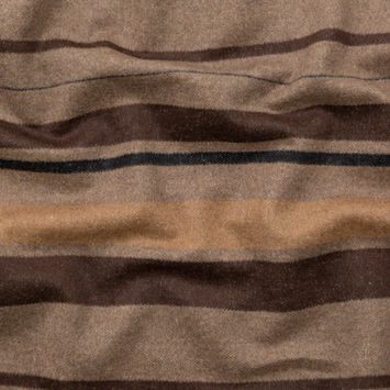 Italian Heathered Fossil, Black and Taupe Barcode Striped Wool Woven