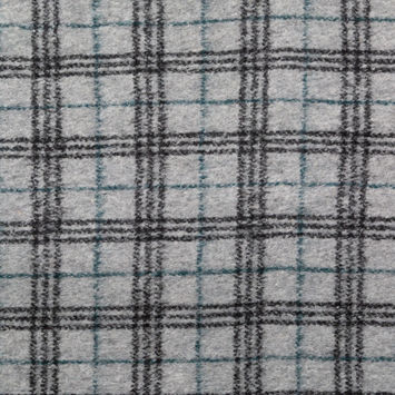 Italian Gray, Black and Teal Plaid Fuzzy Wool Knit