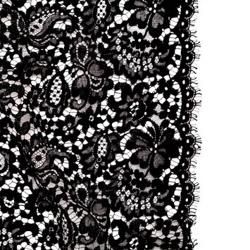 Black Floral Corded Lace with Eyelash Edges