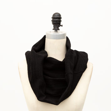 Black Heavy Tubular Wool Rib Knit