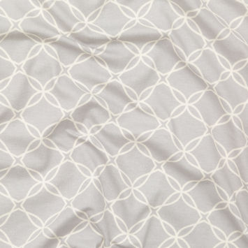 Light Gray and Vanilla Ice Trellis Printed Stretch Cotton Jersey