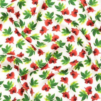 Italian Red, Green and White Floral Silk Twill