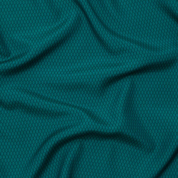 Italian Teal and Black Geometric Silk and Cotton Voile