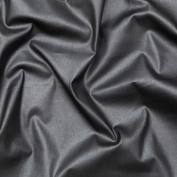 Italian Gray Stretch Cotton Twill with a Metallic Antique Gunmetal Laminate
