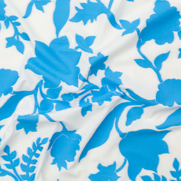 Milly Malibu Blue and Marshmallow Floral Cotton Jacquard