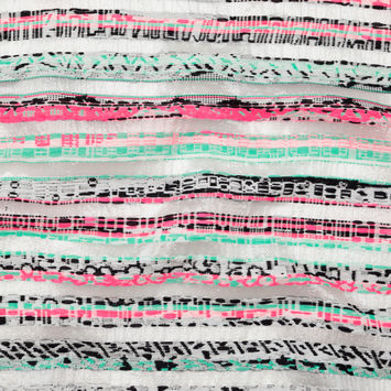 Milly Metallic Silver, Biscay Green, Neon Pink Striped Embroidered Organza