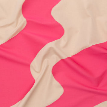 Milly Bubblegum Pink and Sandshell Abstract Cotton Woven