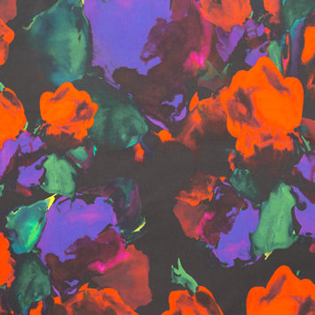 Milly Red, Purple and Black Abstract Painterly Floral Stretch Cotton Sateen